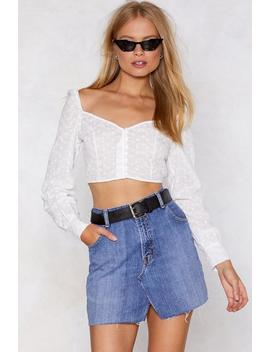Broderie Anglaise Button Throu Crop Top by Nasty Gal