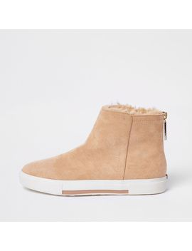 Beige Wide Fit Faux Fur Lined Boots by River Island