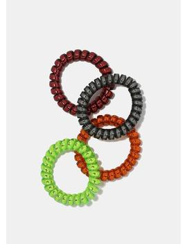 4 Piece Metallic Spiral Hair Ties by Miss A