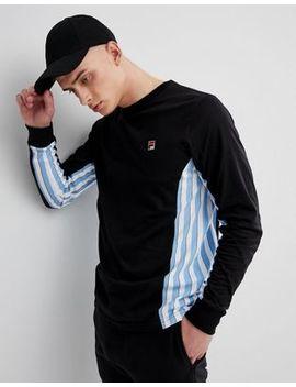 Fila Vintage   T Shirt Met Lange Mouwen En Gestreepte Banen In Zwart by Asos