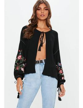 Black Embroidered Sleeve Tie Front Blouse by Missguided