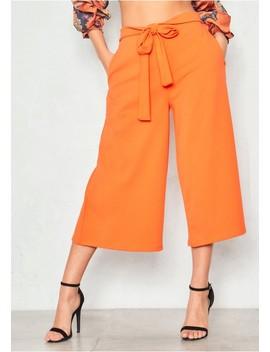 Eva Orange High Waist Culottes by Missy Empire