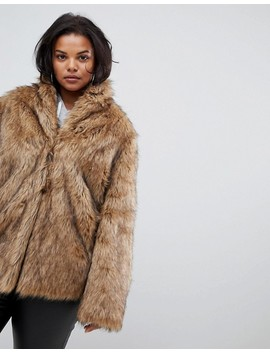 Asos Design Curve Stand Collar Faux Fur Coat by Asos Design