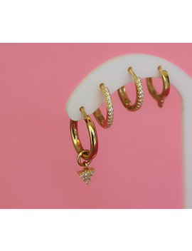 Triangle Geometric Gold Hoop Set, Huggies, Dainty Jewelry, Chunky Hoops, Gold Earrings, Earring Set, Spike Earrings Geometric Earrings Hoops by Skunizza Italian Love
