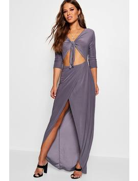 Petite Tie Front Cut Out Maxi Dress by Boohoo