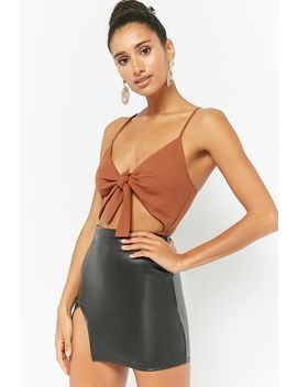 Tie Front Cutout Bodysuit by Forever 21
