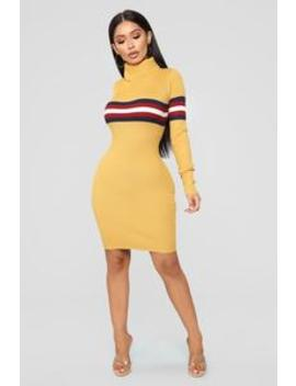 Feels Like Fall Sweater Dress   Mustard/Combo by Fashion Nova