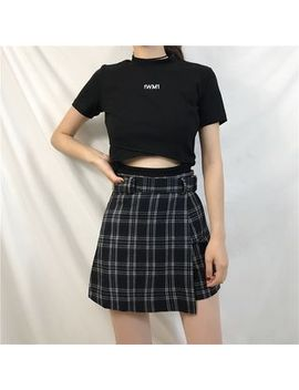 Short Sleeve Embroidered Crop Top/ Plaid Skort by Mikiko