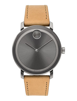 Men's Swiss Bold Evolution Beige Leather Strap Watch 40mm, Created For Macy's by Movado