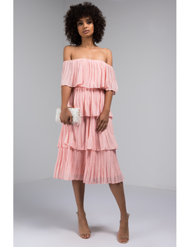Pulls Me In Close Layered Off The Shoulder Midi Dress by Akira