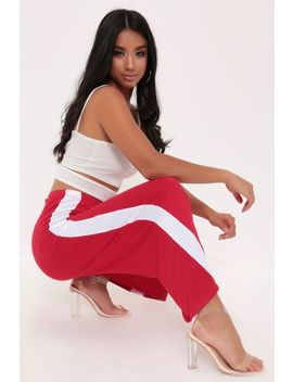 Red Stripe Cropped Wide Leg Trousers by I Saw It First