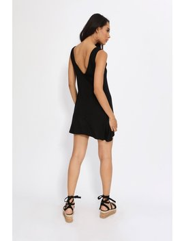 Black Jersey Low Back Swing Dress by I Saw It First