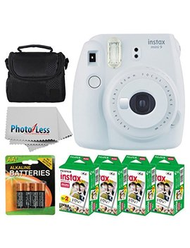 Fujifilm Instax Mini 9 Instant Film Camera (Smokey White) + Fujifilm Instax Mini Twin Pack Instant Film (80 Shots) + Camera Case + Aa Batteries + Accessory Bundle   International Version (No Warranty) by Fujifilm