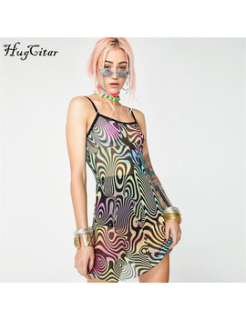 Hugcitar Spaghetti Straps Mesh See Through Patchwork Mini Dresses 2018 Summmer Autumn Women New Fashion Sleepwear Dress by Hugcitar