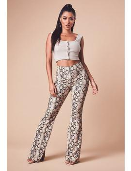 Nude Snake Print Flared Trousers by Missguided