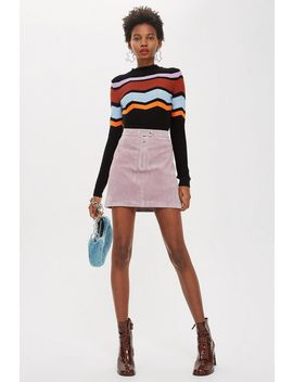 Suede Popper Mini Skirt by Topshop