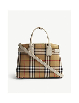 Banner Small Vintage Check And Leather Tote by Burberry