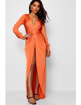 Daria Twist Front Plunge Slinky Maxi Dress by Boohoo