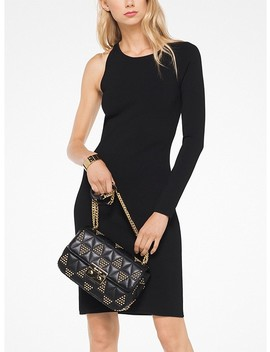 Asymmetrical Stretch Viscose Sleeve Dress by Michael Michael Kors
