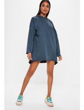 Navy Oversized Hooded Dip Hem Sweater Dress by Missguided