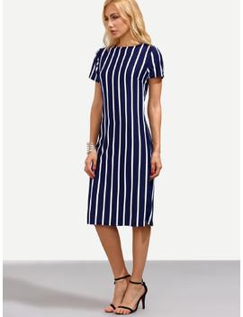 Striped Sheath Dress by Shein