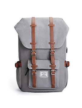 Canvas Backpack Casual Bag Rucksack Schoolbag With Usb Charge Port 15,6 Inches Laptop Bag For Campus School Travel Business, Grey by Kalidi