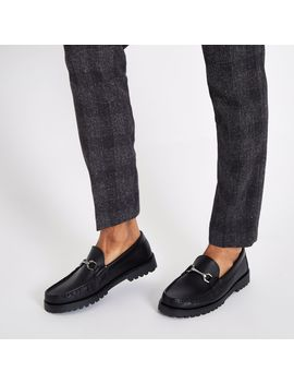 Black Leather Snaffle Chunky Sole Loafer by River Island
