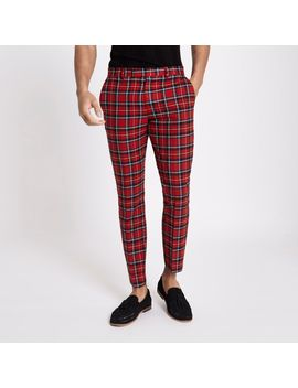 ​Red Tartan Skinny Cropped Trousers by River Island
