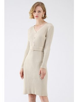 Feel The Love V Neck Knit Dress In Cream by Chicwish