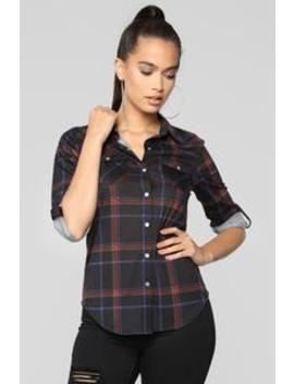 Lounge Affair Collared Plaid Top   Black/Red by Fashion Nova