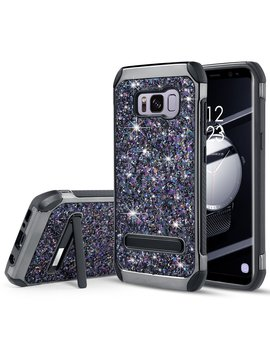 Uarmor Case For Samsung Galaxy S8 Plus / Galaxy S8+, Luxury Glitter Bling Rugged Shockproof Dirtproof Stand Hybrid Slim Sparkle Shiny Faux Leather Chrome Hard Case Cover, Black by Uarmor