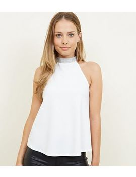 White Diamanté Choker Neck Party Top by New Look
