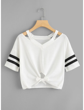 Cut Out Neck Varsity Striped Knot Front Tee by Shein