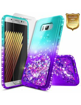 Galaxy S8 Plus Case With [Screen Protector Hd Clear], Nage Bee Glitter Liquid Quicksand Floating Flowing Shiny Sparkle Bling Diamond Luxury Cute Case For Samsung Galaxy S8 Plus   Aqua/Purple by Nage Bee
