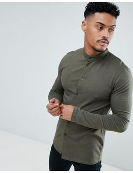 Boohoo Man Muscle Fit Jersey Shirt With Grandad Collar In Khaki by Boohoo Man
