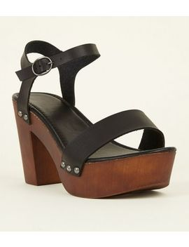 Black Limited Edition Wooden Platform Block Heels by New Look