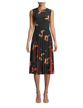 Talita Bird Print Silk Pleated Sleeveless Dress by Neiman Marcus