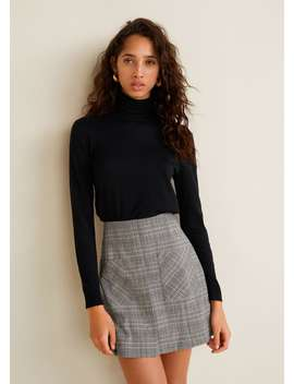 Pocket Checked Skirt by Mango