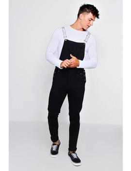 Skinny Fit Dungarees With Man Tape Straps by Boohoo
