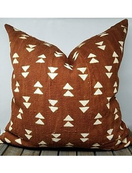 African Mudcloth Pillow Cover, Authentic Mud Cloth Pillow, Triangle Pillow, Rust Color Decorative Pillow Ekon by Hudsonand Harper Co