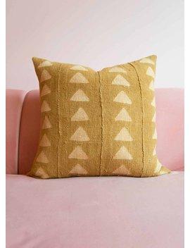 Gold Mudcloth, African Mudcloth Cushion, Mustard Mudcloth Pillow, African Mudcloth Pillow Cover, Mustard Throw Pillow, Boho Decor by San Junipero