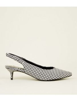 Black Houndstooth Check Slingback Kitten Heels by New Look