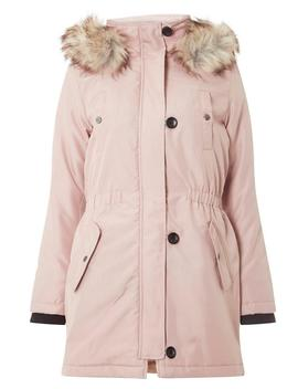 **Only Pink Fur Hood Parka Coat by Dorothy Perkins