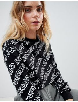 House Of Holland Logo Print Skater Crop Top by House Of Holland