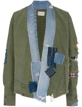 Greg Laurendenim Collar And Raw Hem Cotton Jacket Home Man Greg Lauren Clothing Lightweight Jackets by Greg Lauren