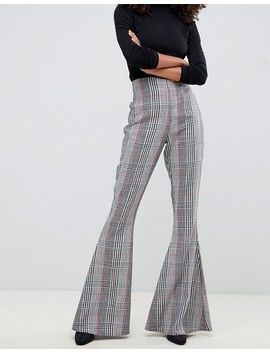 Asos Design Slim Kick Flare In Check by Asos Design
