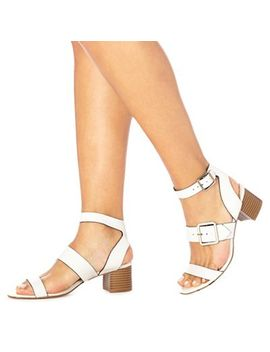 Faith   White 'dustin' Mid Block Heel Ankle Strap Sandals by Faith
