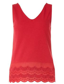 Red Trim Hem Vest by Dorothy Perkins