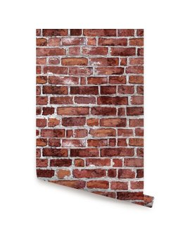 Red Brick Self Adhesive Fabric Wallpaper Repositionable by Accentu Wall