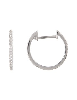 18 K White Gold Pave Diamond 11mm Hoop Earrings   0.09 Ctw by Bony Levy